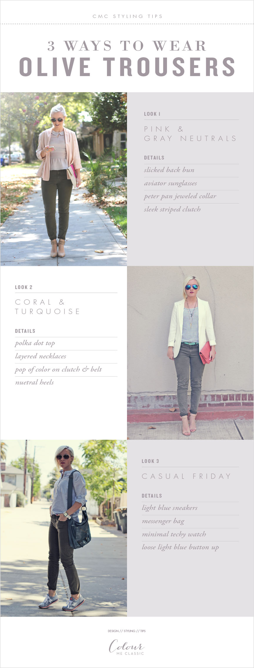 olive pants worn 3 ways.1