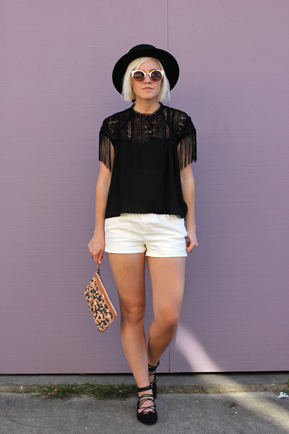 black and white with fringe outfit