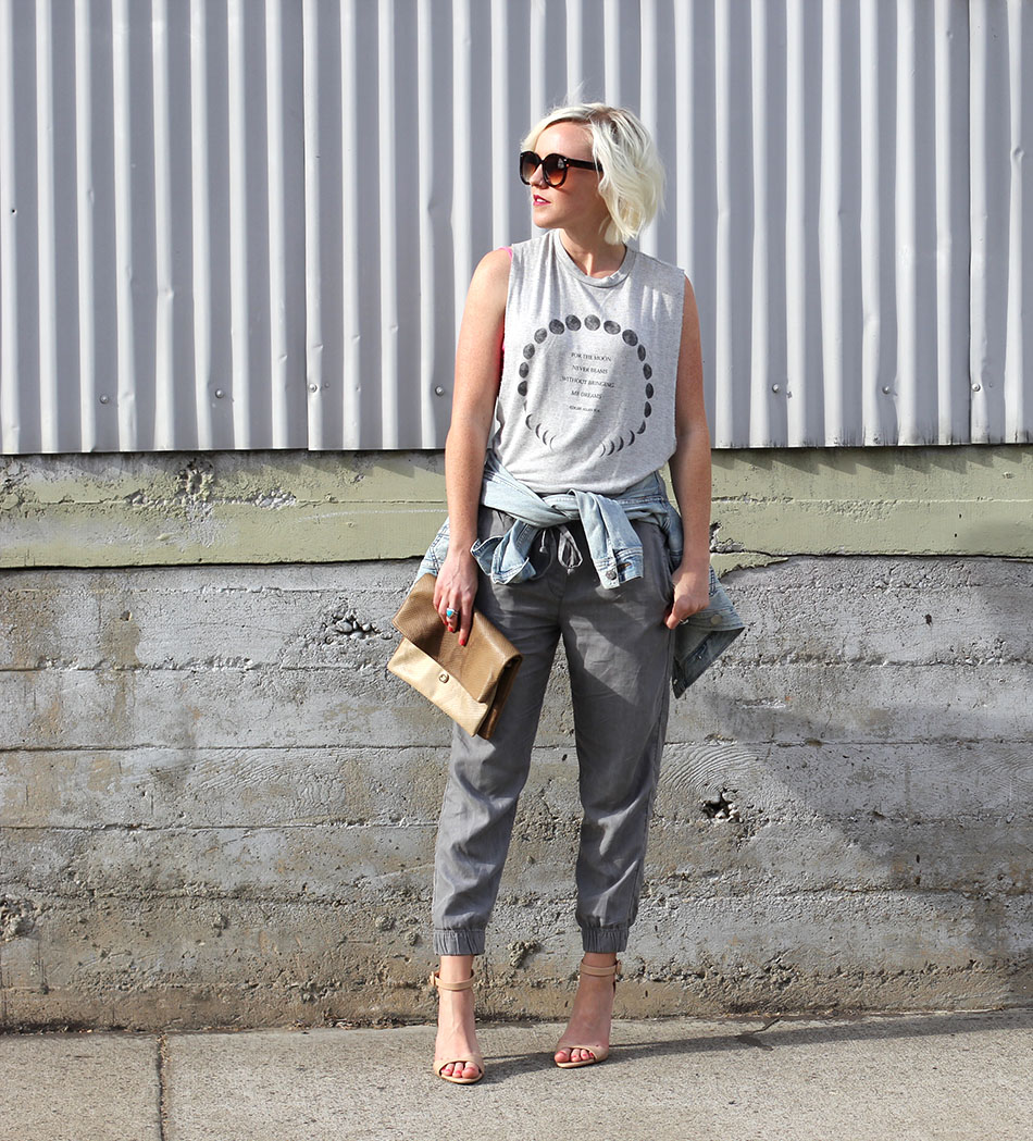 joggers and heels outfit