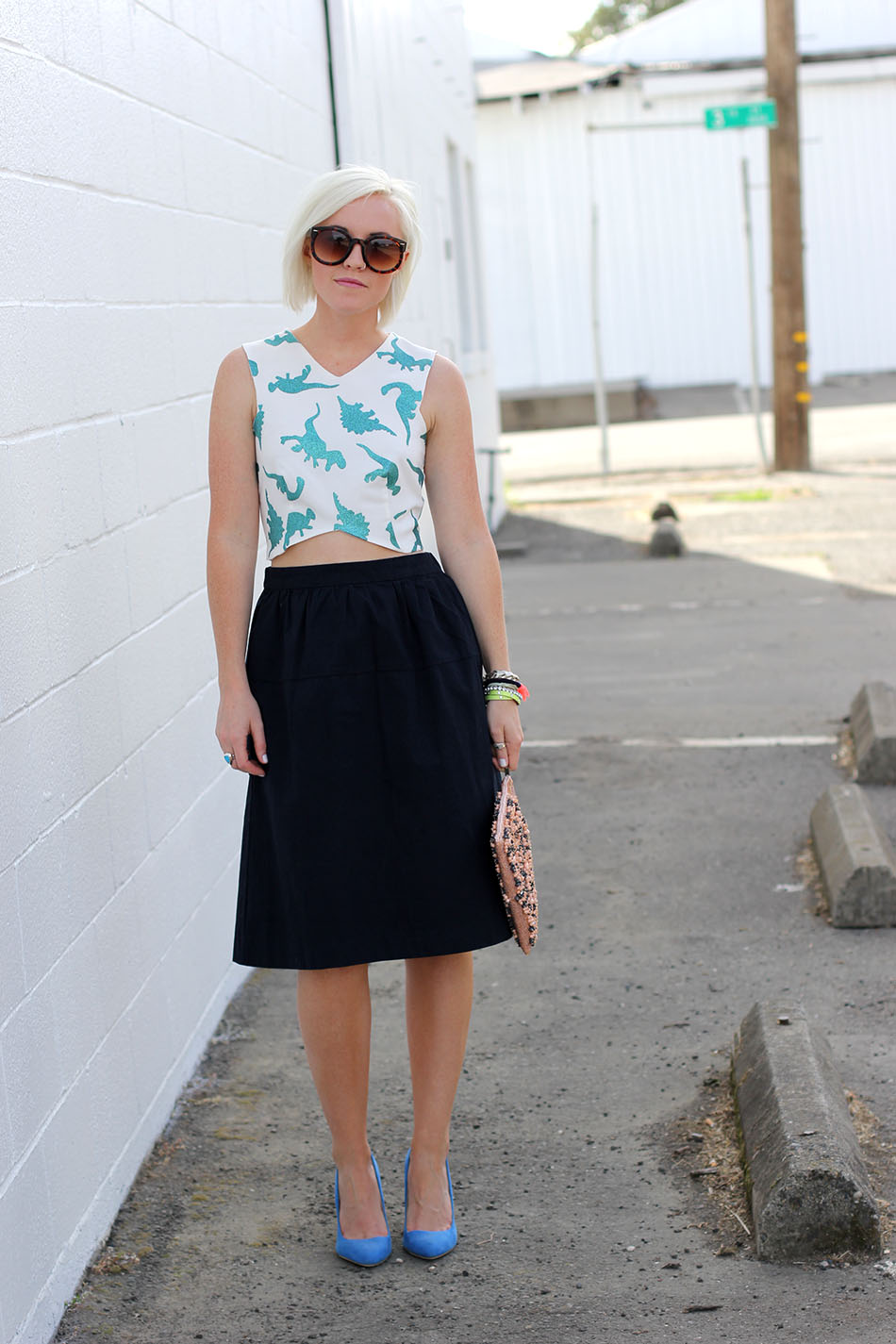 midi skirt_crop top